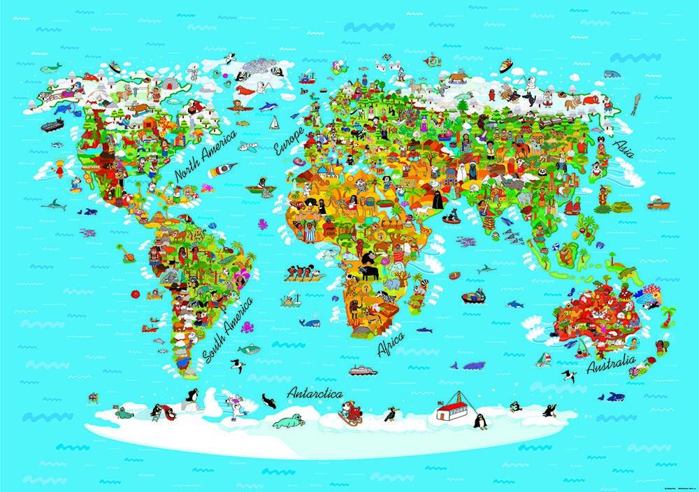 Fototapete Tapete Kinder Weltkarte Landkarte 360x254cm