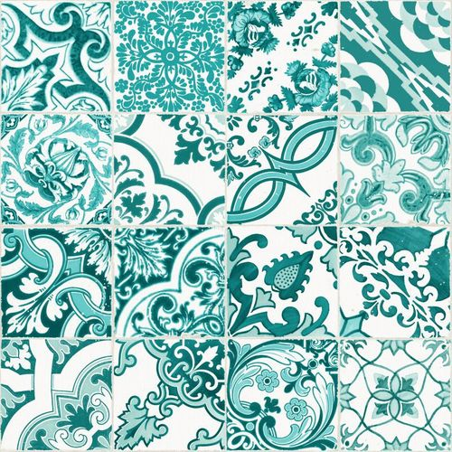 Wallpaper tiles ornaments World Wide Walls green 148635 online kaufen