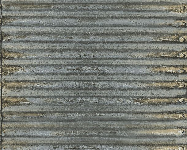 Wallpaper corrugated metal AS Creation grey 30756-1