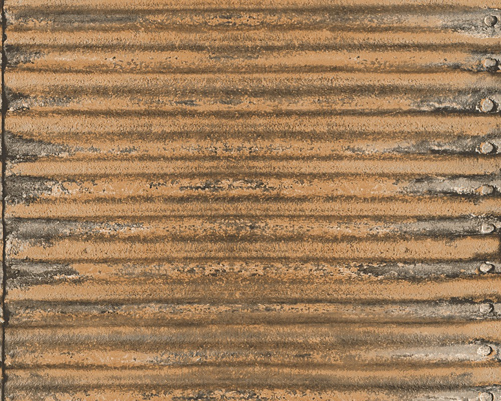 Wallpaper Corrugated Metal As Creation Brown 30756 2