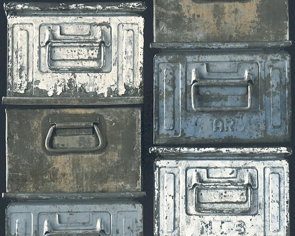 Tapete vintage metall kasten as creation grau 30675 1 for Tapete vintage