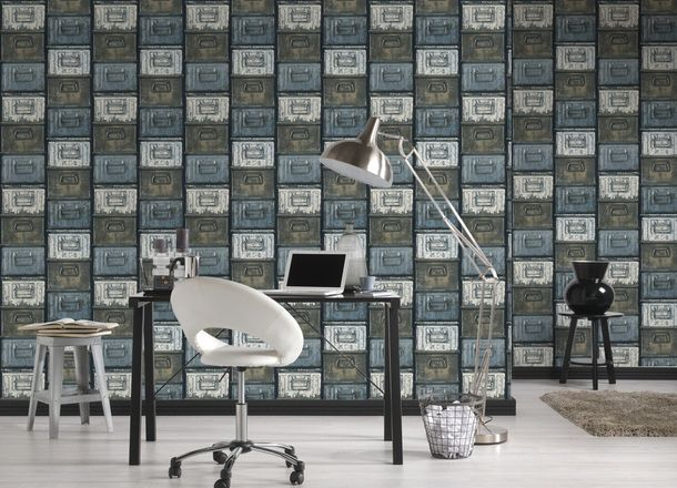 Wallpaper vintage metal AS Creation black grey 30675-1 online kaufen