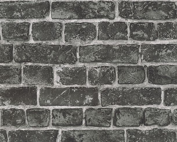 Wallpaper stone clincer bricks AS Creation grey black 30682-2 online kaufen