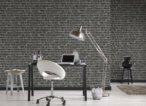 Vliestapete Stein-Optik Ziegel AS Creation grau schwarz 30682-2 online kaufen