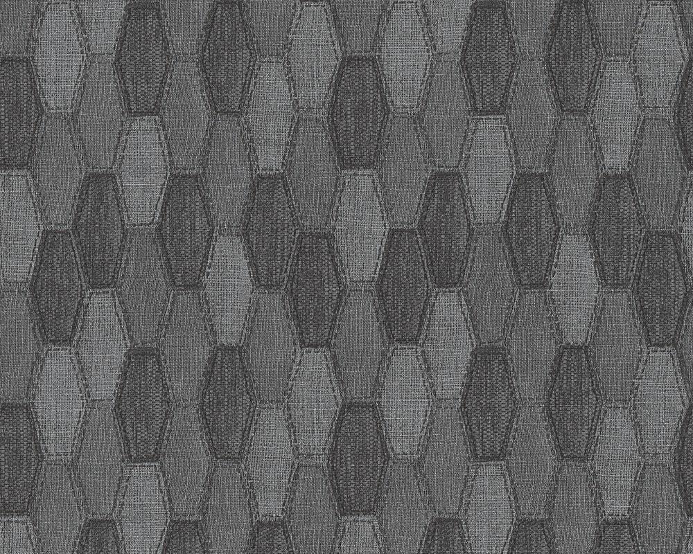 tapete grafik waben as creation grau schwarz 30693 4. Black Bedroom Furniture Sets. Home Design Ideas