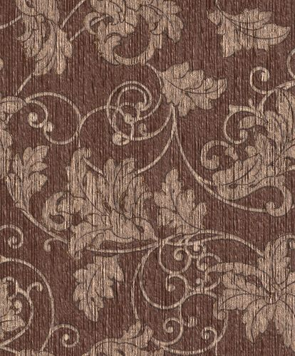 Wallpaper floral Rasch Textil Paper Yarn brown 077888