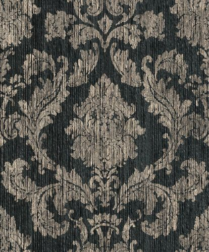 Wallpaper baroque Rasch Textil Paper Yarn black 077819