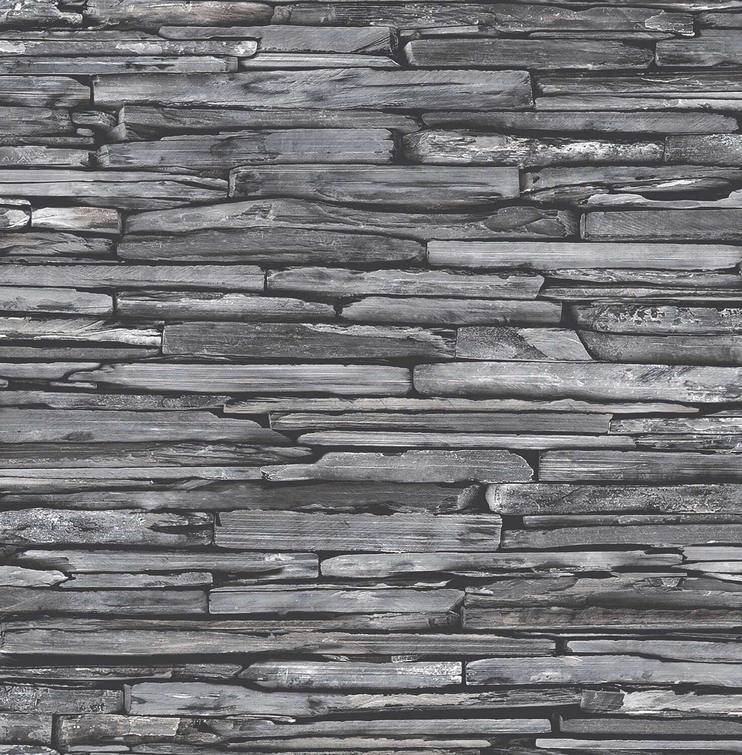 Wallpaper Stone Style Wand Rasch Textil Black 022352 001