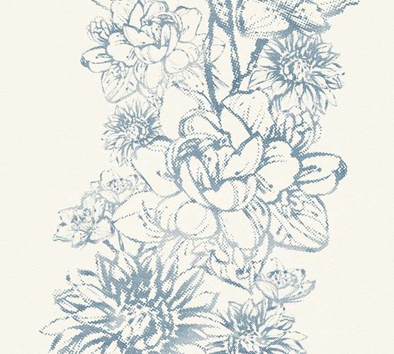 Wallpaper Floral Metallic cream blue AS Creation 30706-2 online kaufen