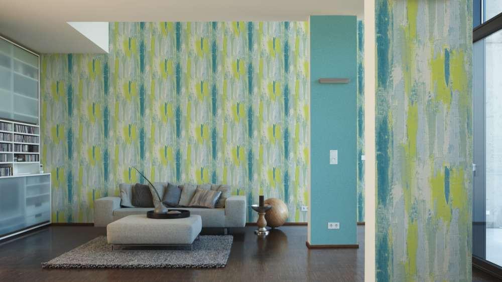 tapete used shabby design gr n blau as creation 31949 3. Black Bedroom Furniture Sets. Home Design Ideas