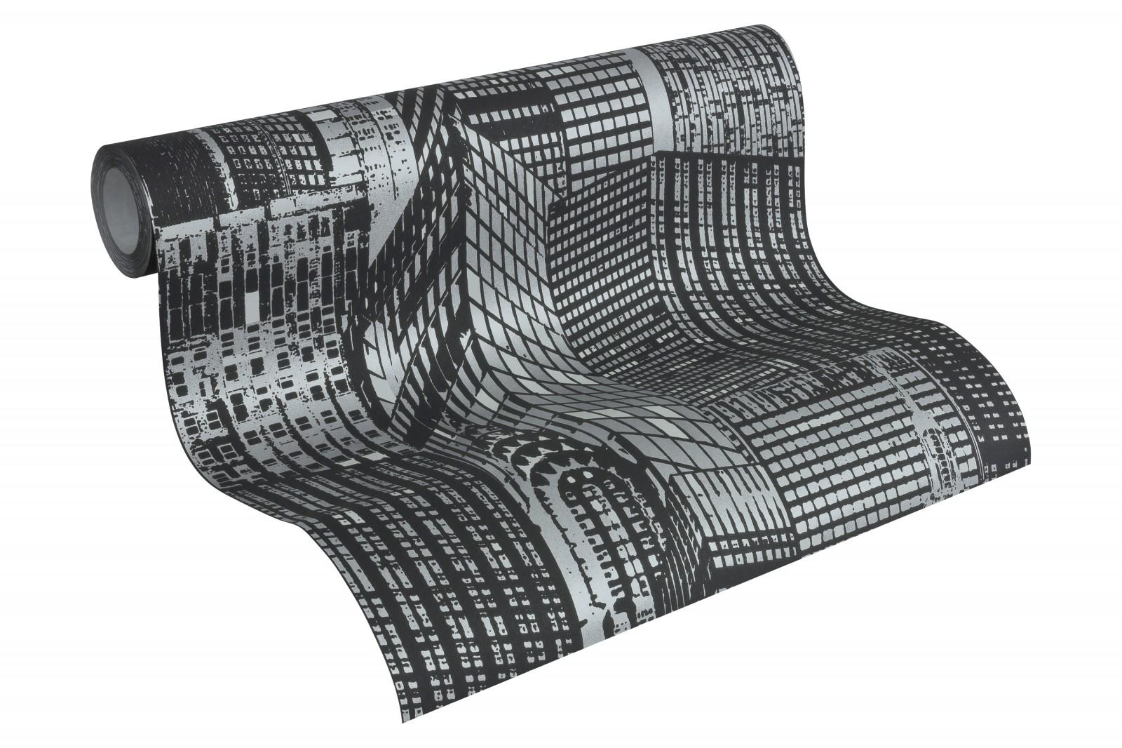 tapete leuchttapete fluoreszierend skyline schwarz 2528 45. Black Bedroom Furniture Sets. Home Design Ideas