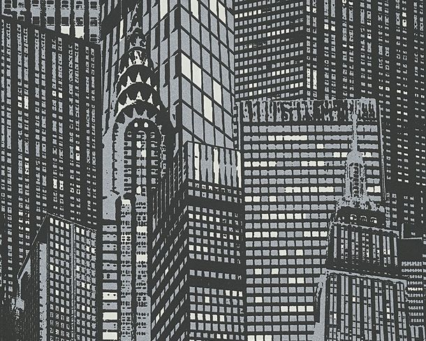 Glowing Wallpaper Skyline black silver Metallic 2528-45