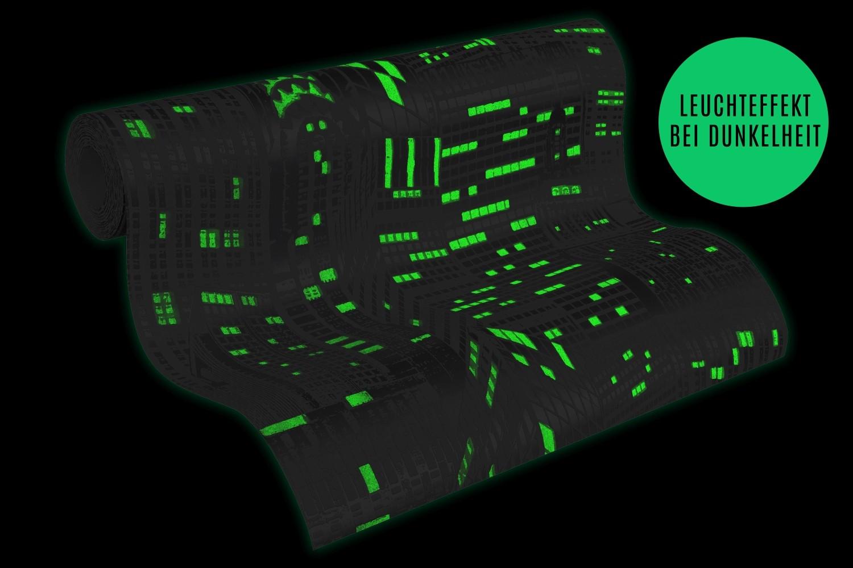 tapete leuchttapete fluoreszierend skyline grau 2528 52. Black Bedroom Furniture Sets. Home Design Ideas