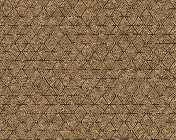 Wallpaper diamond graphic Lutèce gold brown 32710-2