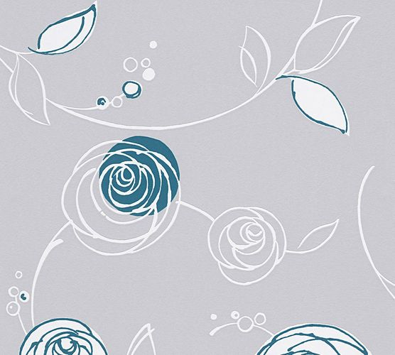 Tapete Floral Rose AS Creation Blau Grau 30536-4 online kaufen