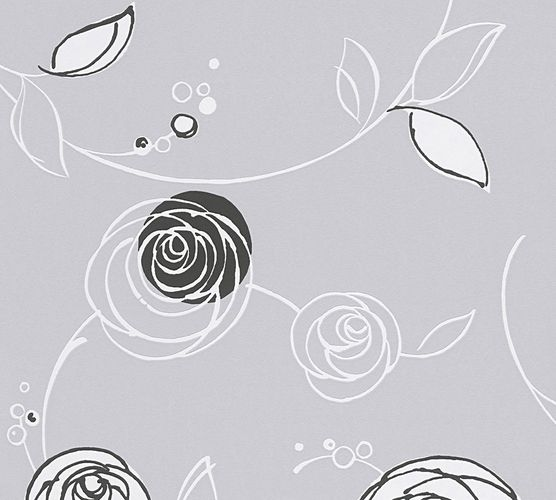Wallpaper floral roses AS Creation grey black 30536-5