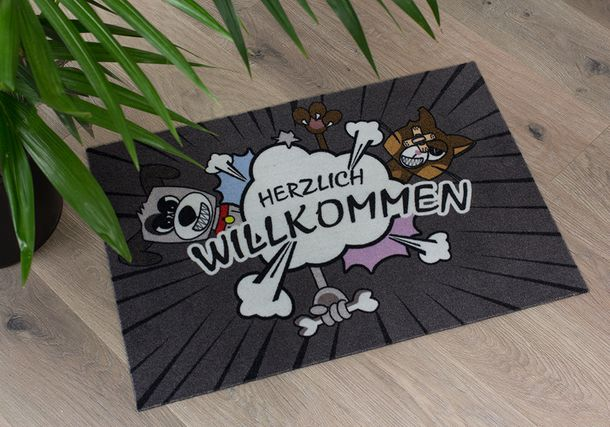 Door Mat Dirt Barrier Mat Dogs Cats Pets Comic 50x70cm online kaufen