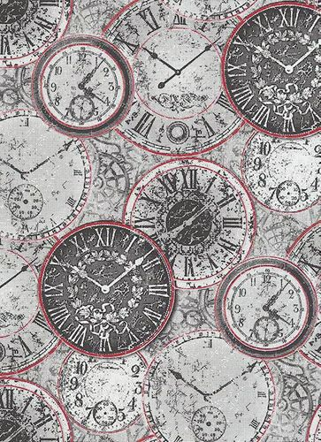 Wallpaper vintage clock grey Erismann Prime Time 6435-06 online kaufen