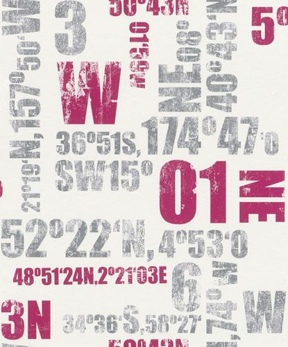 Kids Wallpaper Vintage Lettering Rasch grey red 248029