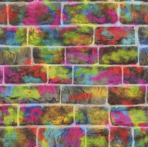 Kids Wallpaper Brick Stone Graffiti Rasch colourful 291407 online kaufen