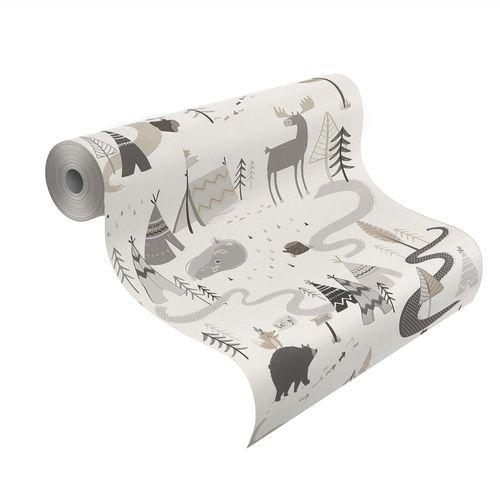 Kid's Wallpaper Indian Animals white grey Rasch 292404 online kaufen