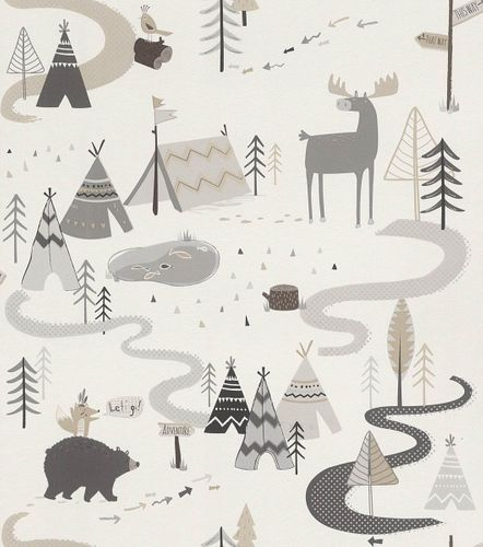 Kid's Wallpaper Indian Animals white grey Rasch 292404