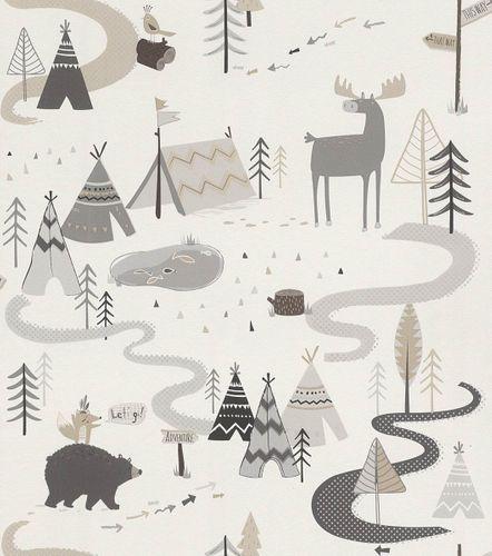 Kindertapete Indianer Wald Tiere weiß grau Rasch 292404 online kaufen