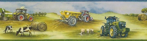 Wallpaper Border Boys Tractor Farm Rasch green 293302