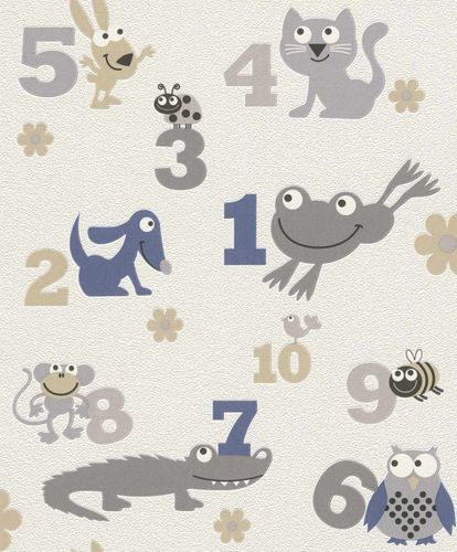Non-Woven Wallpaper Kids Numbers Animals grey Rasch 503043 online kaufen