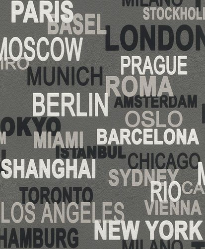 Rasch Wallpaper Rasch 766738 Urban City Wallcover Lettering