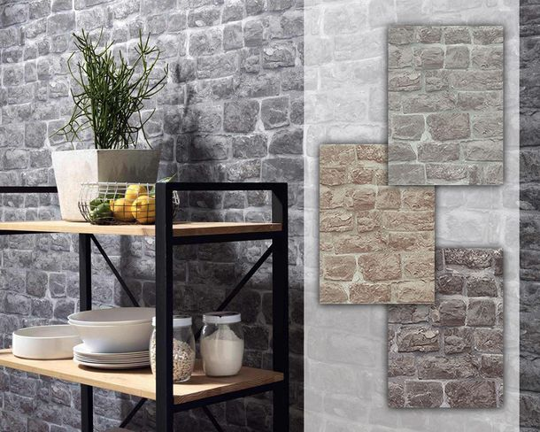 Non-woven Wallpaper stones wall bricks Erismann 5818 online kaufen