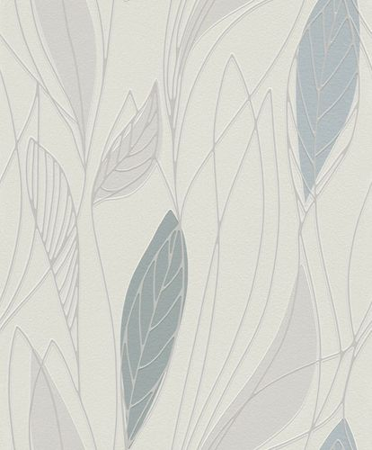 Wallpaper nature leafs Rasch Brooklyn white grey 932911