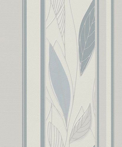 Wallpaper leafs stripes shine Rasch Brooklyn grey 932713