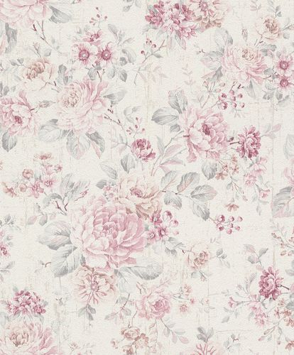 Wallpaper Rasch flower vintage cream white rose 516029