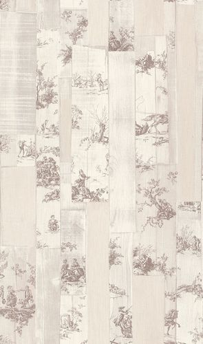 Wallpaper Rasch Toile de Jouy cream beige brown 516302