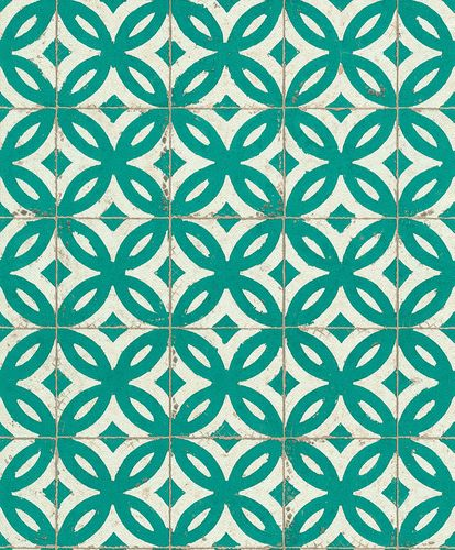Wallpaper tile tiles Rasch Pure Vintage green 524727 online kaufen