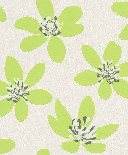 Non-woven wallpaper flowers Rasch Prego green 700114
