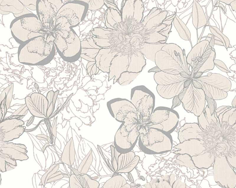 Wallpaper Flowers Gloss White Silver As Creation 32798 1