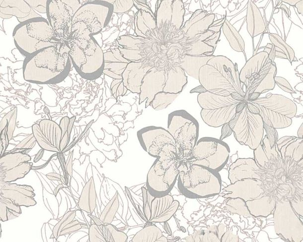 Wallpaper flowers gloss white silver AS Creation 32798-1 online kaufen