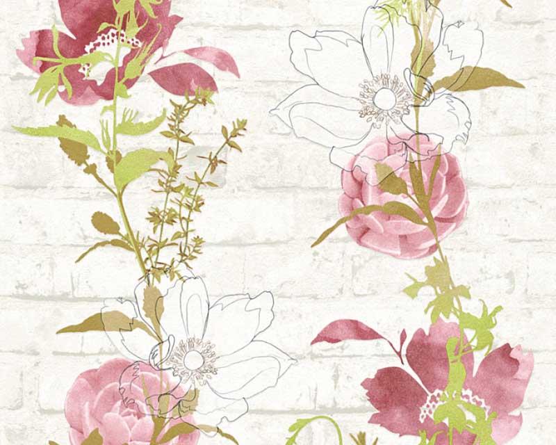 tapete blumen floral stein wei rot as creation 32800 4. Black Bedroom Furniture Sets. Home Design Ideas