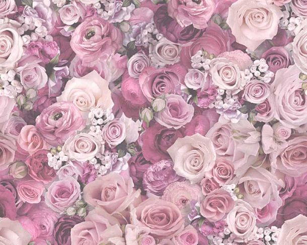 Wallpaper roses flower gloss purple AS Creation 32722-4