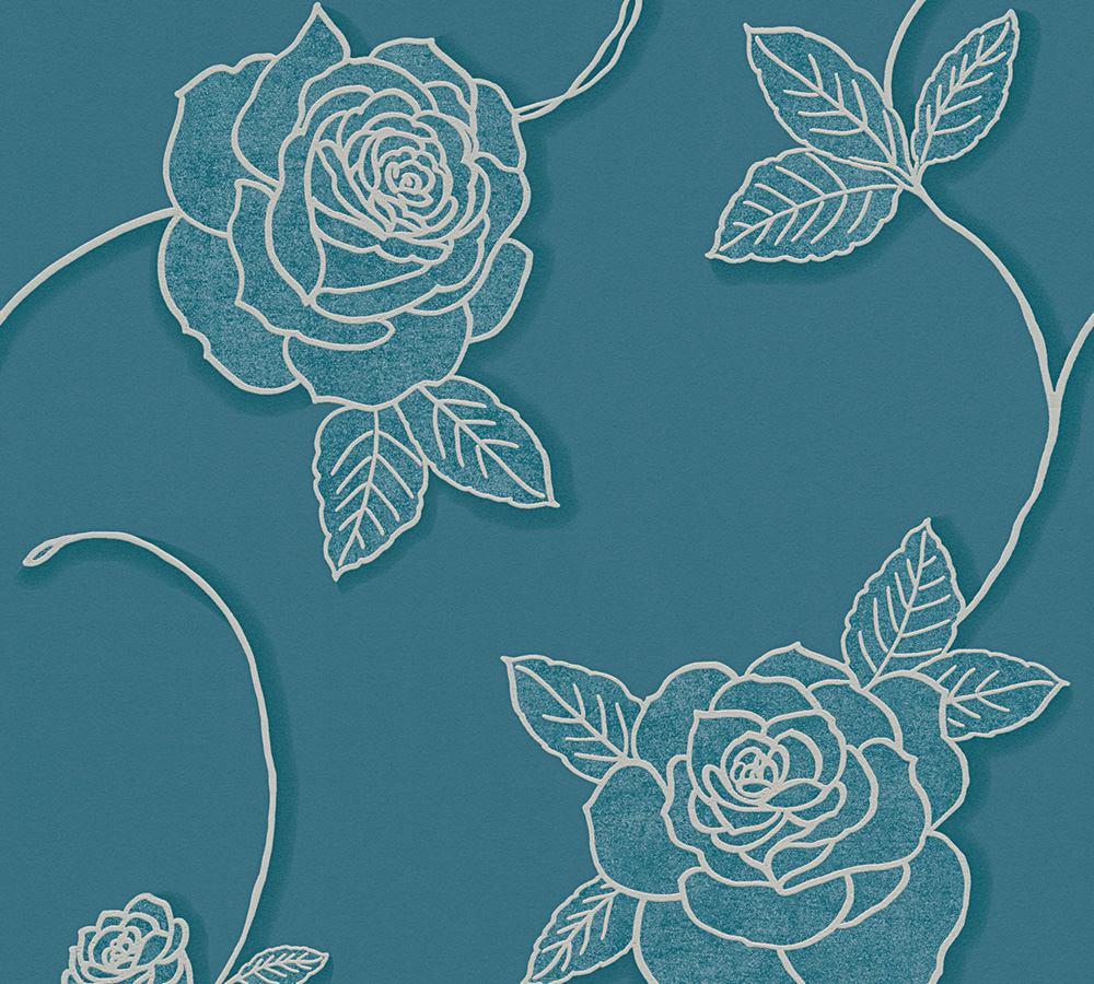 Tapete floral rosen blumen blau livingwalls 32832 5 for Tapete rosen