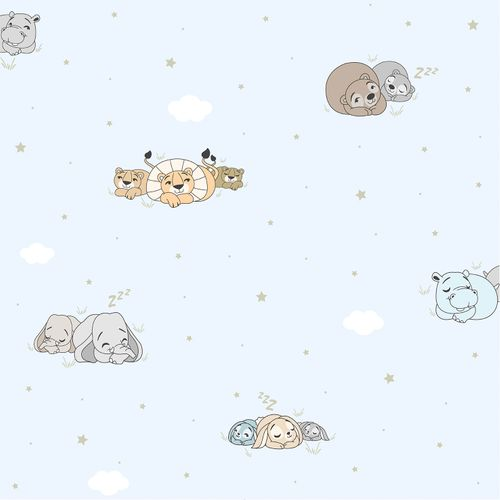 Kids Wallpaper lion bear Rasch Textil blue beige 330037 online kaufen