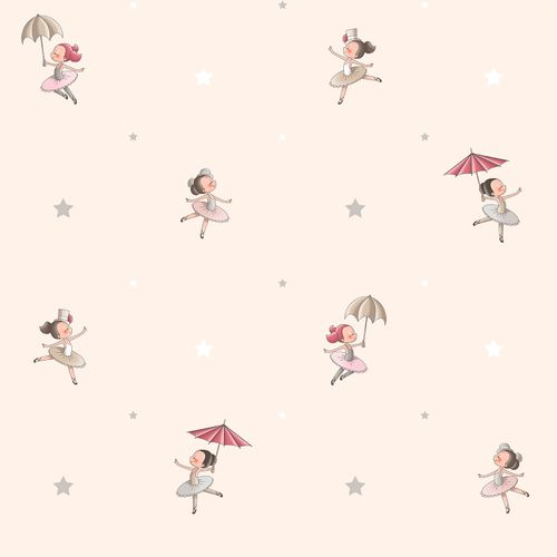 Kids Wallpaper ballerina World Wide Walls beige grey 330082