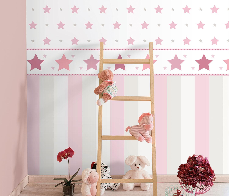 Kindertapete Stern Sterne weiß pink 330136