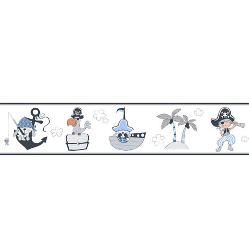 Wallpaper Border pirates World Wide Walls white grey 330488