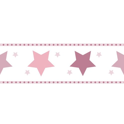 Wallpaper Border star World Wide Walls rose white 330501