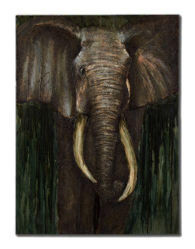 Original Ölgemälde Leinwand Afrika Elefant braun grün 150x100cm