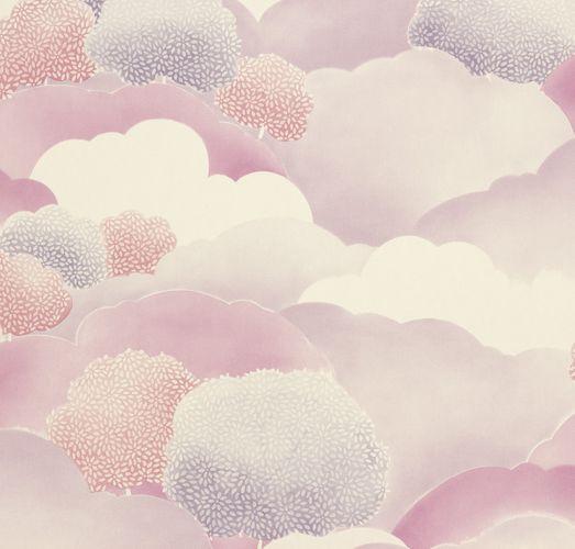 Papiertapete Wolken Blumen violett rosa 006028