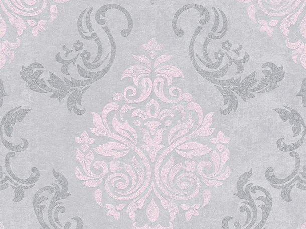 Vliestapete Barock Glitzer AS Creation grau rosa 95372-6